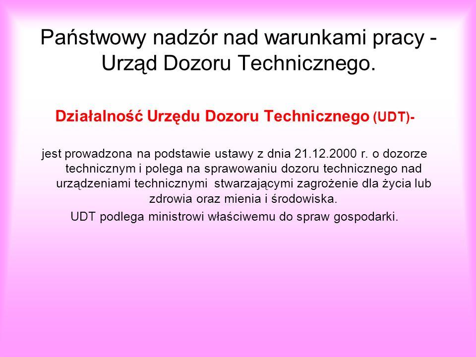 Państwowy nadzór nad warunkami pracy - Urząd Dozoru Technicznego.