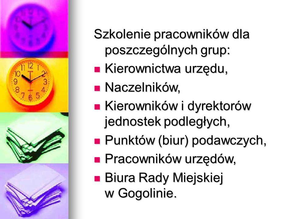 Szkolenie pracowników dla poszczególnych grup: