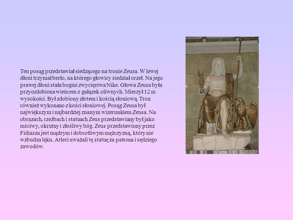 Ten posąg przedstawiał siedzącego na tronie Zeusa