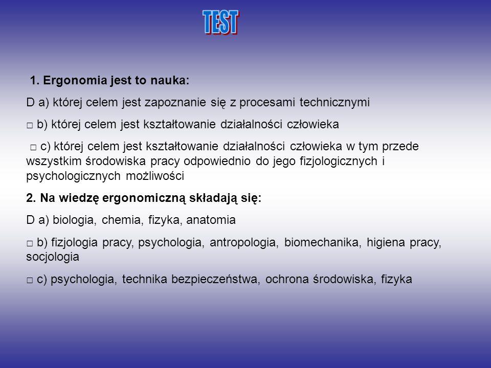 TEST 1. Ergonomia jest to nauka: