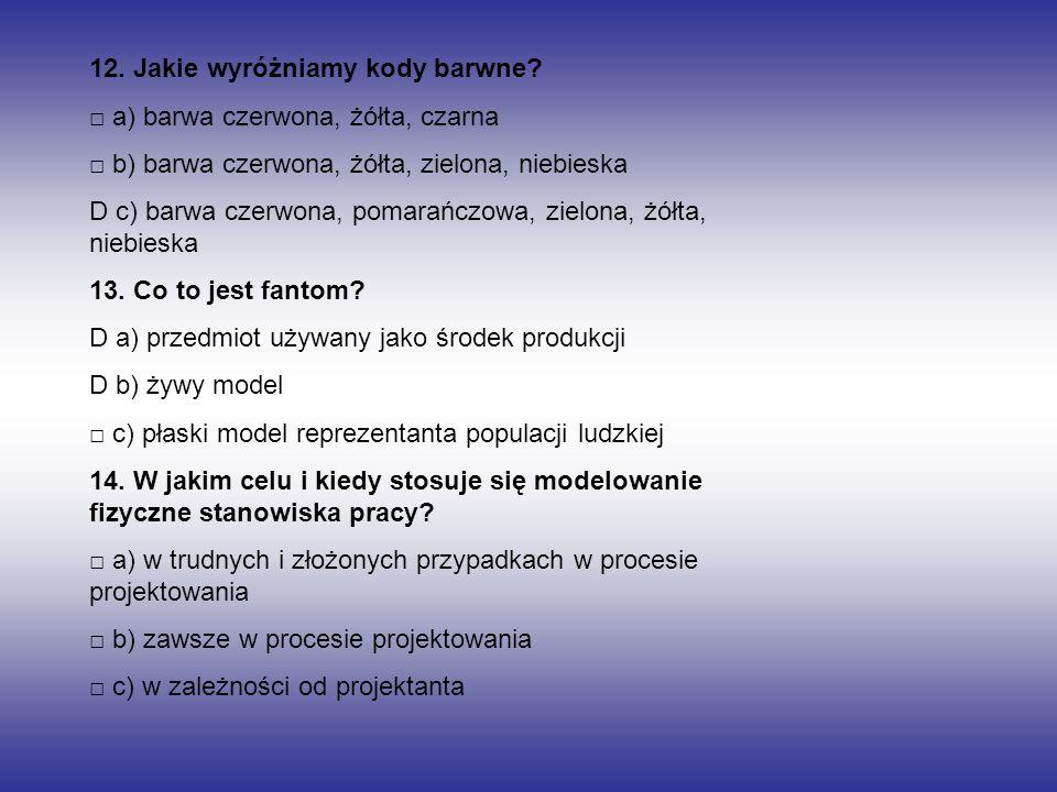 12. Jakie wyróżniamy kody barwne