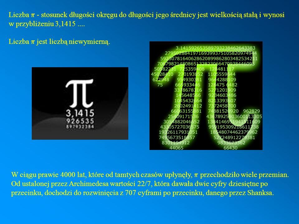 Liczba p - stosunek długości okręgu do długości jego średnicy jest wielkością stałą i wynosi w przybliżeniu 3,1415 ....