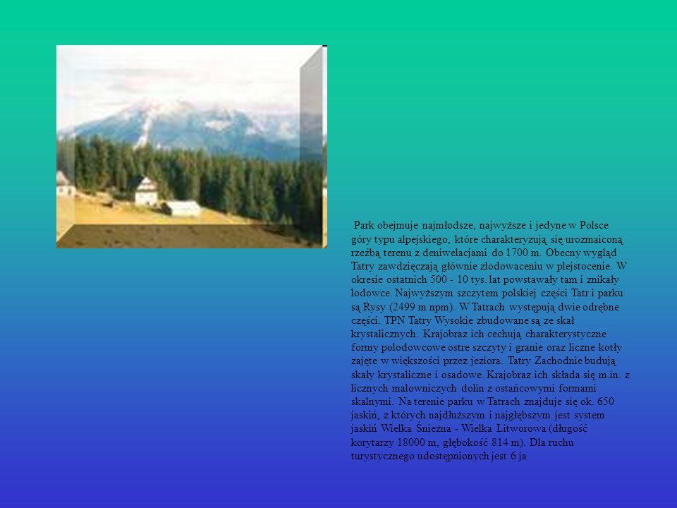 Park obejmuje najmłodsze, najwyższe i jedyne w Polsce góry typu alpejskiego, które charakteryzują się urozmaiconą rzeźbą terenu z deniwelacjami do 1700 m.