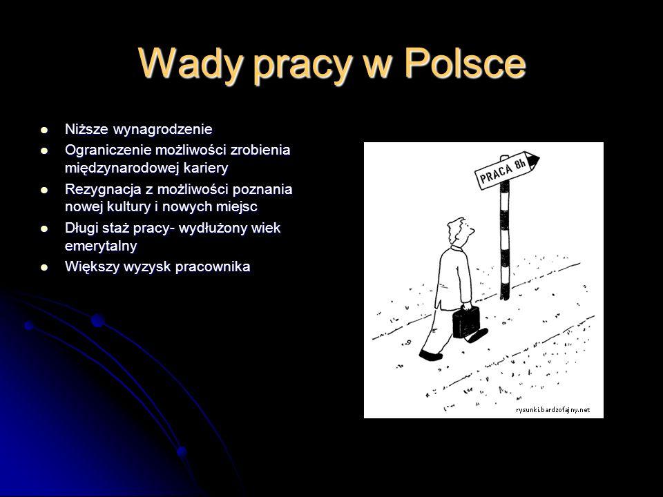 Wady pracy w Polsce Niższe wynagrodzenie