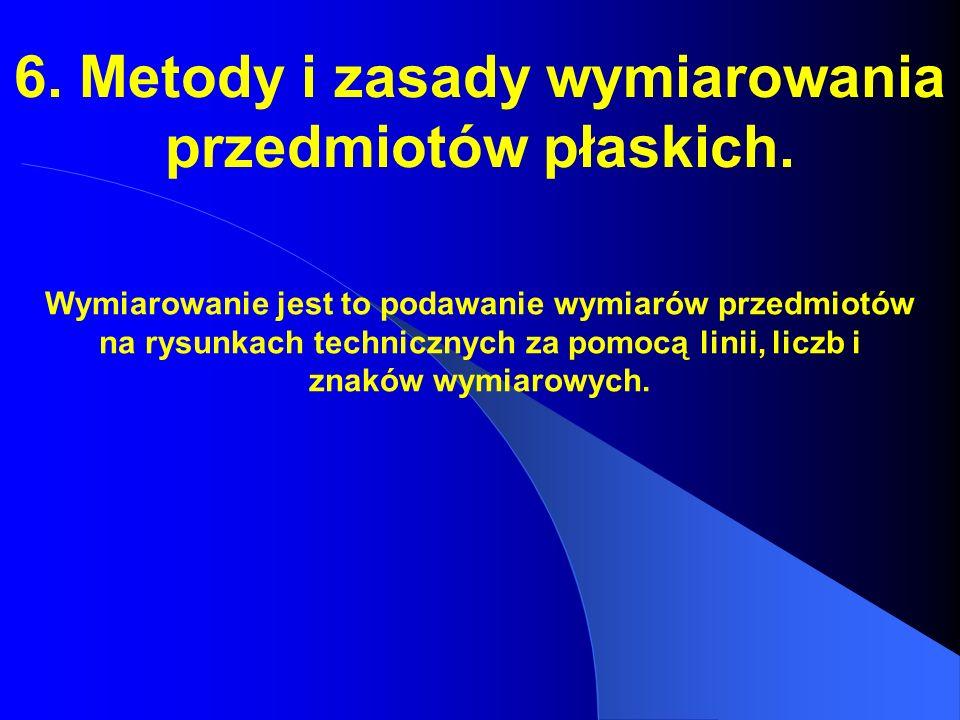 6. Metody i zasady wymiarowania przedmiotów płaskich.