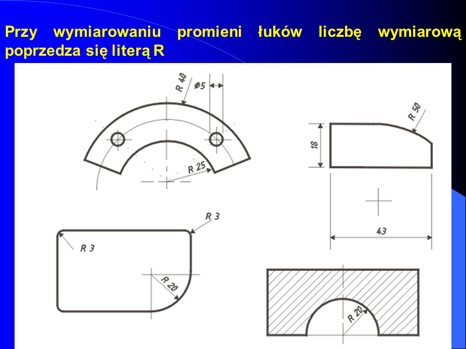 Przy wymiarowaniu promieni łuków liczbę wymiarową poprzedza się literą R