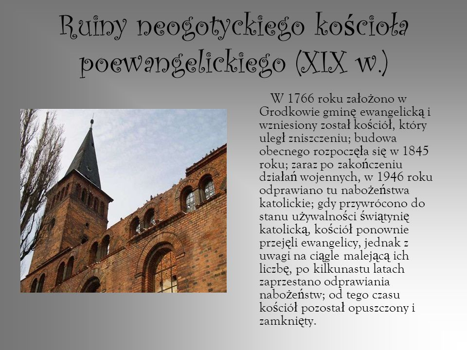 Ruiny neogotyckiego kościoła poewangelickiego (XIX w.)