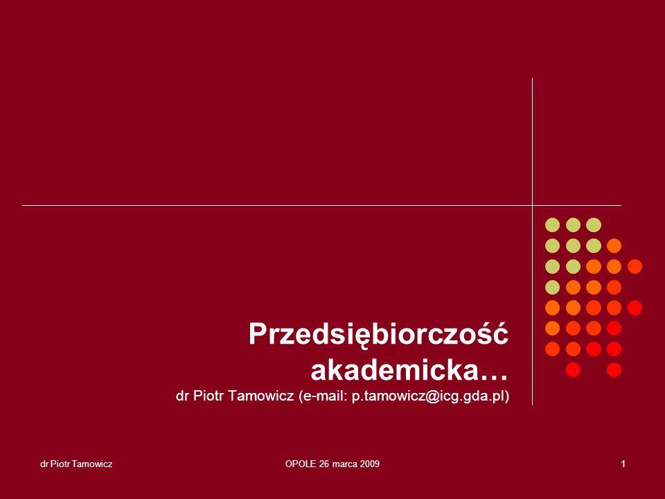 Przedsiębiorczość akademicka… dr Piotr Tamowicz (e-mail: p