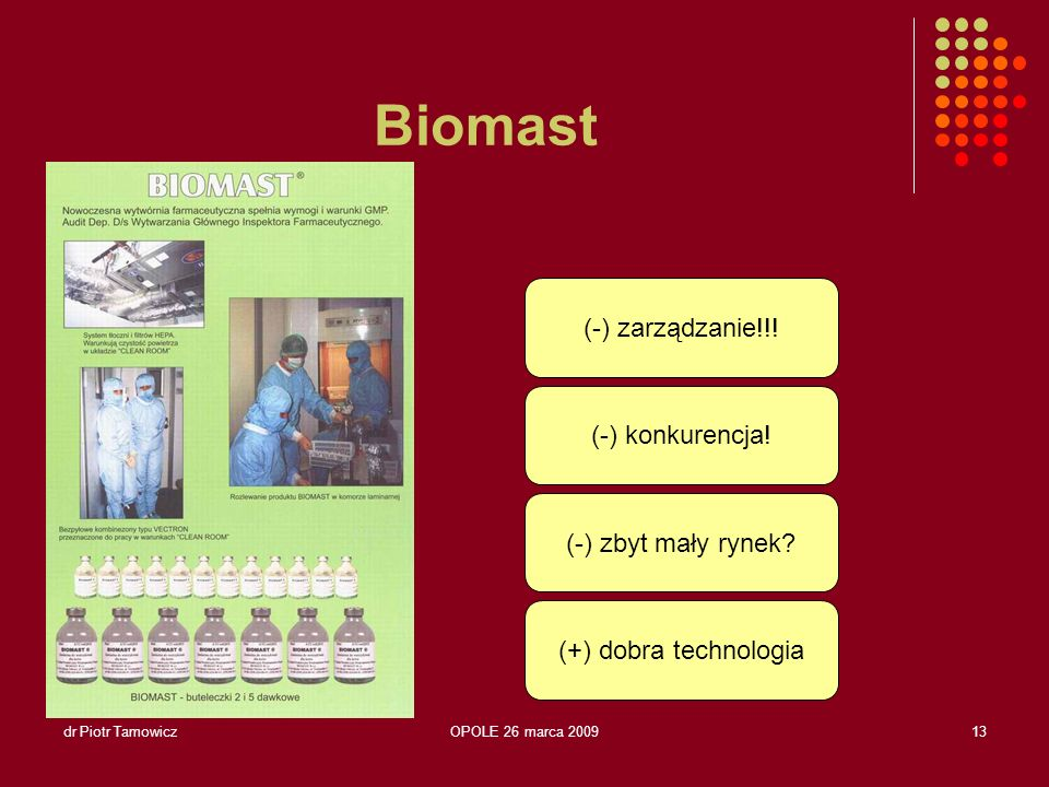 Biomast (-) zarządzanie!!! (-) konkurencja! (-) zbyt mały rynek