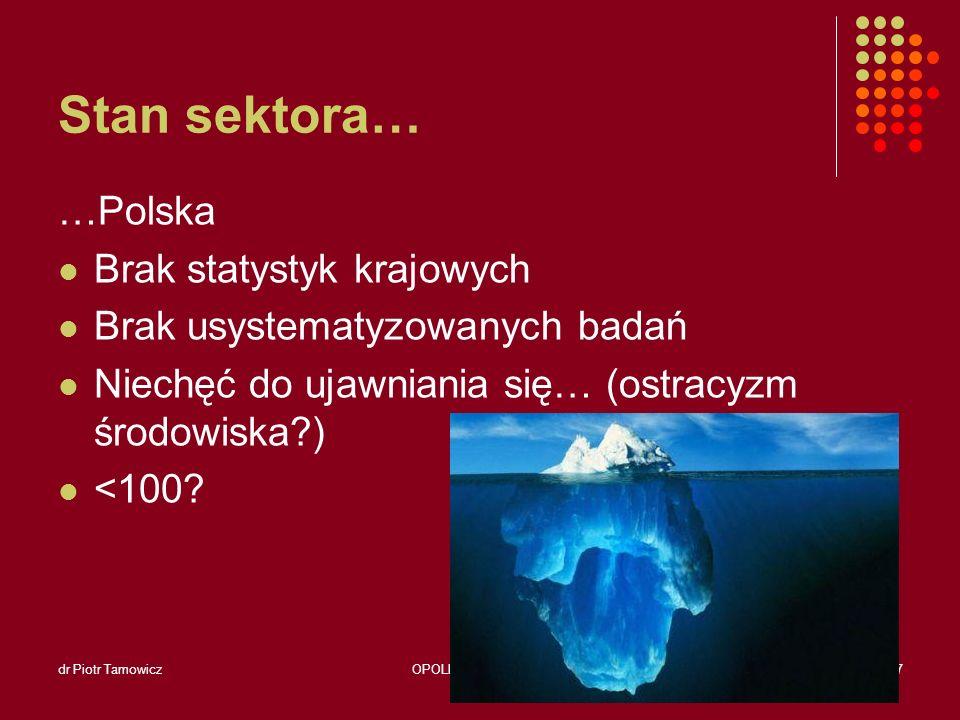 Stan sektora… …Polska Brak statystyk krajowych