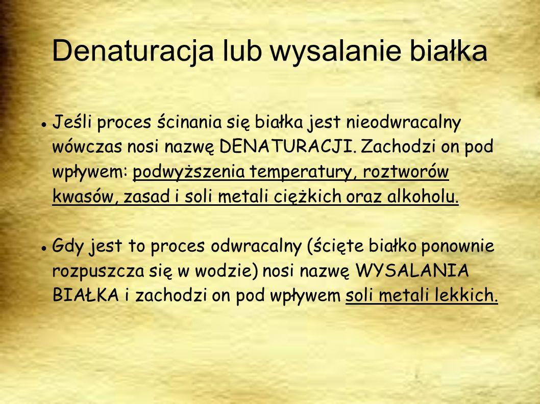 Denaturacja lub wysalanie białka