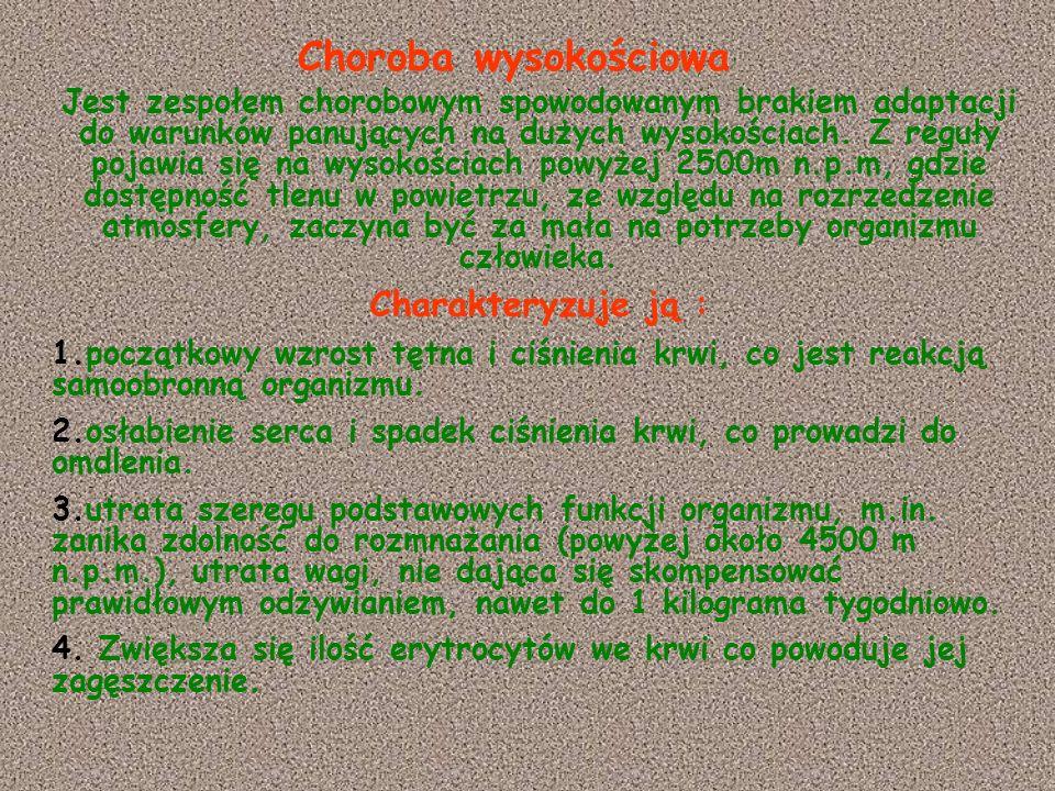 Choroba wysokościowa Charakteryzuje ją :