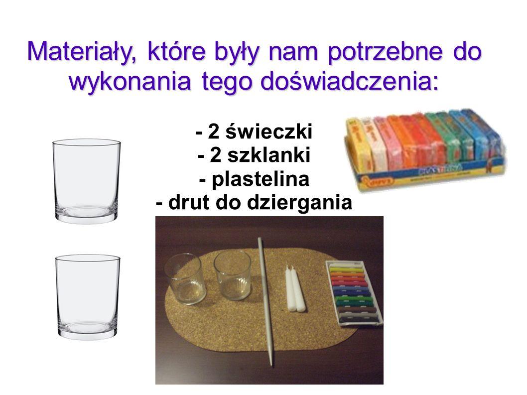 Materiały, które były nam potrzebne do wykonania tego doświadczenia: - 2 świeczki - 2 szklanki - plastelina - drut do dziergania