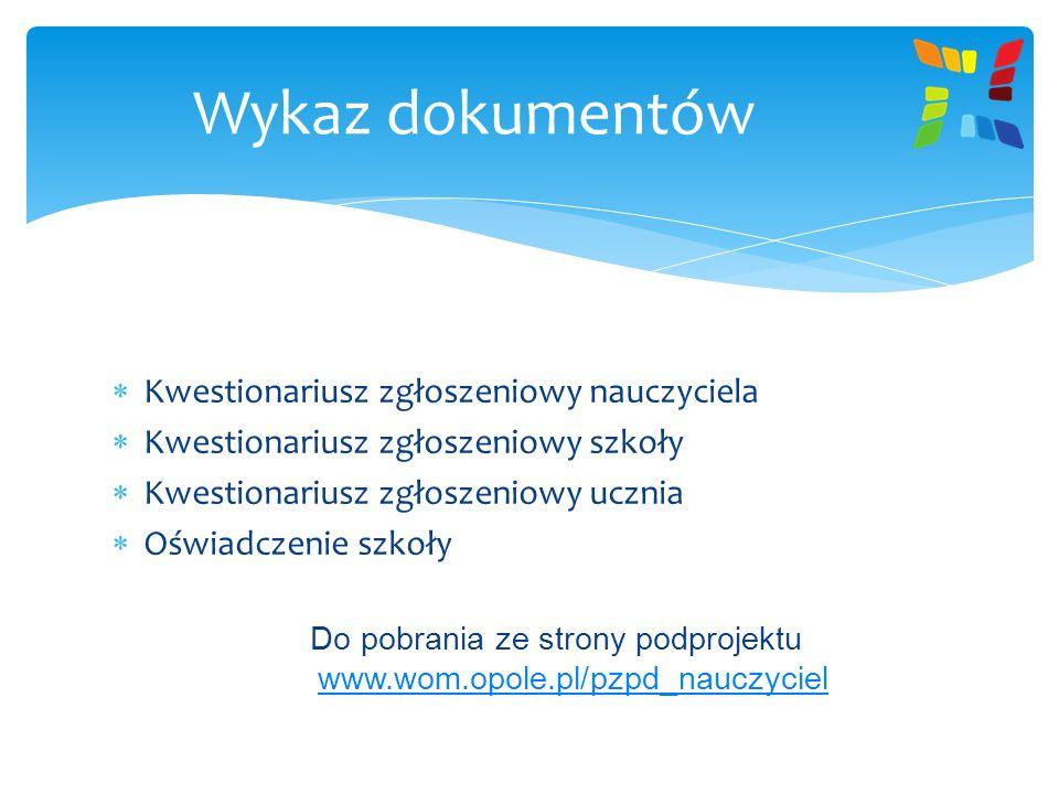 Do pobrania ze strony podprojektu www.wom.opole.pl/pzpd_nauczyciel