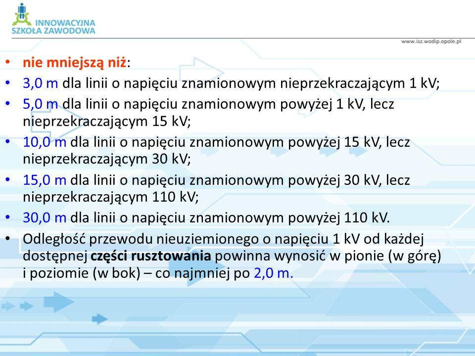nie mniejszą niż: 3,0 m dla linii o napięciu znamionowym nieprzekraczającym 1 kV;