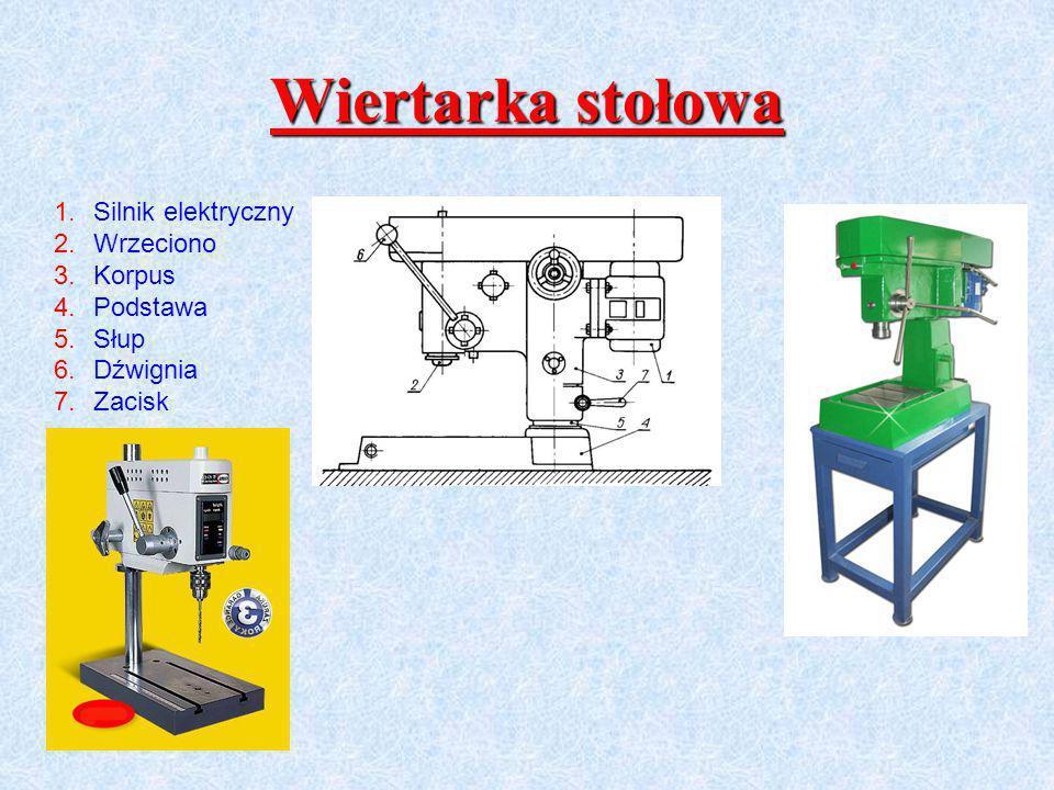Wiertarka stołowa Silnik elektryczny Wrzeciono Korpus Podstawa Słup