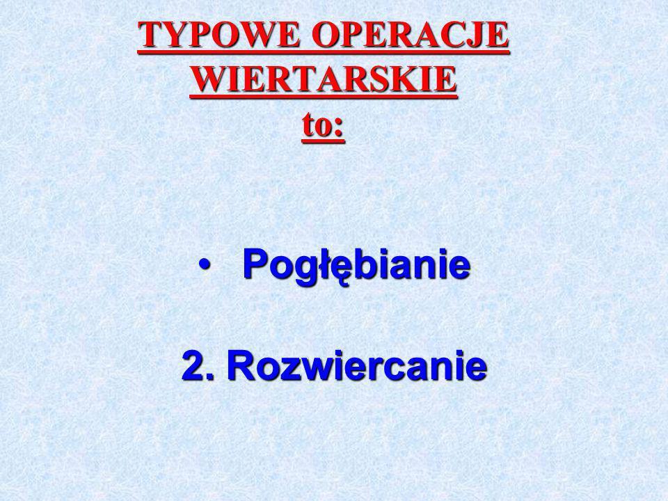 TYPOWE OPERACJE WIERTARSKIE to: