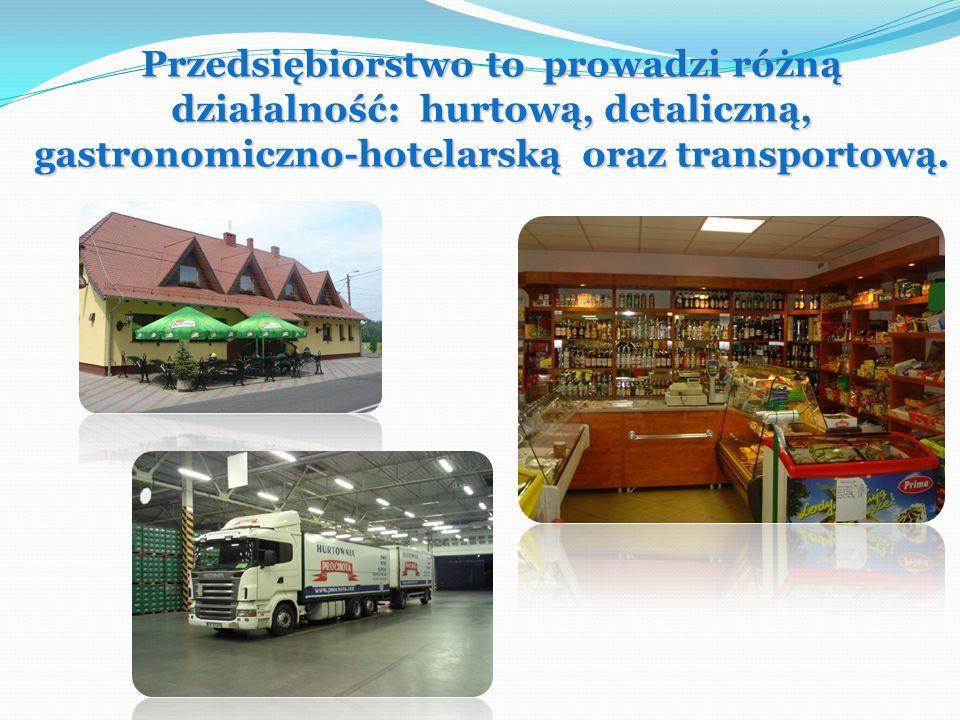 Przedsiębiorstwo to prowadzi różną działalność: hurtową, detaliczną, gastronomiczno-hotelarską oraz transportową.