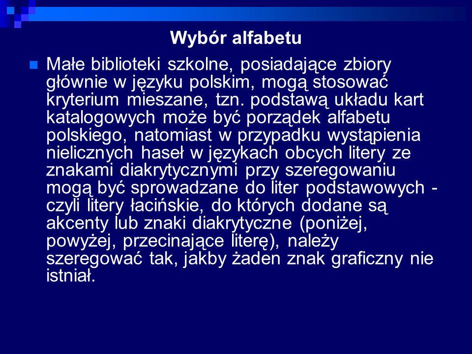 Wybór alfabetu
