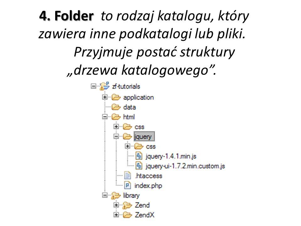 4. Folder to rodzaj katalogu, który zawiera inne podkatalogi lub pliki