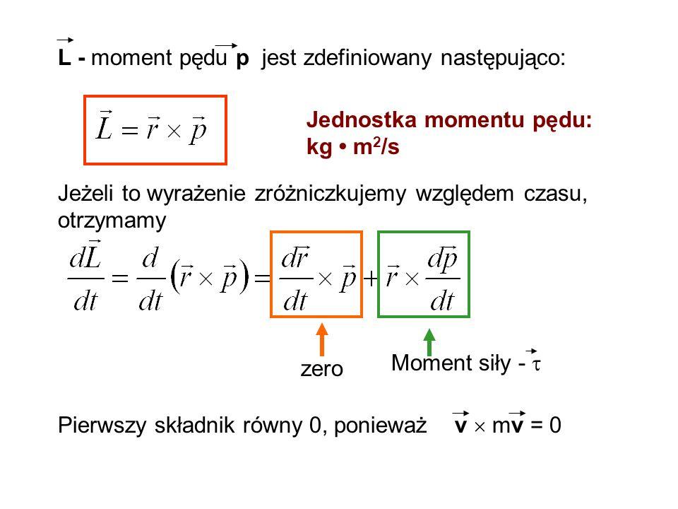 L - moment pędu p jest zdefiniowany następująco: