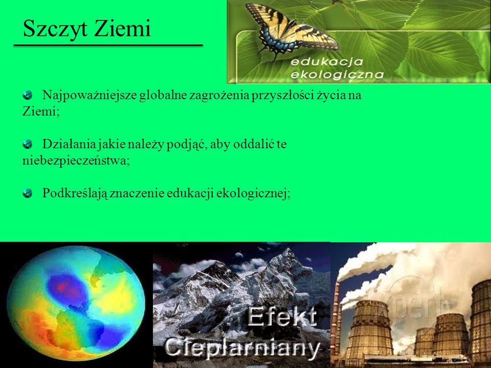 Szczyt ZiemiNajpoważniejsze globalne zagrożenia przyszłości życia na Ziemi; Działania jakie należy podjąć, aby oddalić te niebezpieczeństwa;