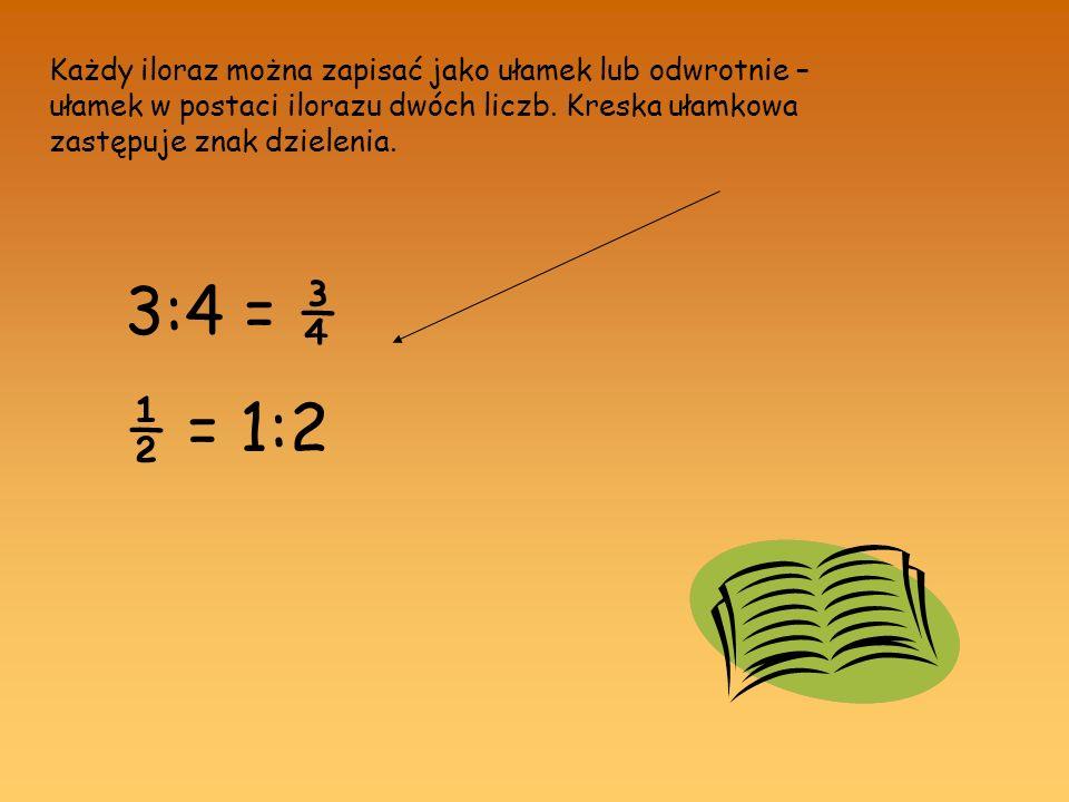 Każdy iloraz można zapisać jako ułamek lub odwrotnie – ułamek w postaci ilorazu dwóch liczb. Kreska ułamkowa zastępuje znak dzielenia.