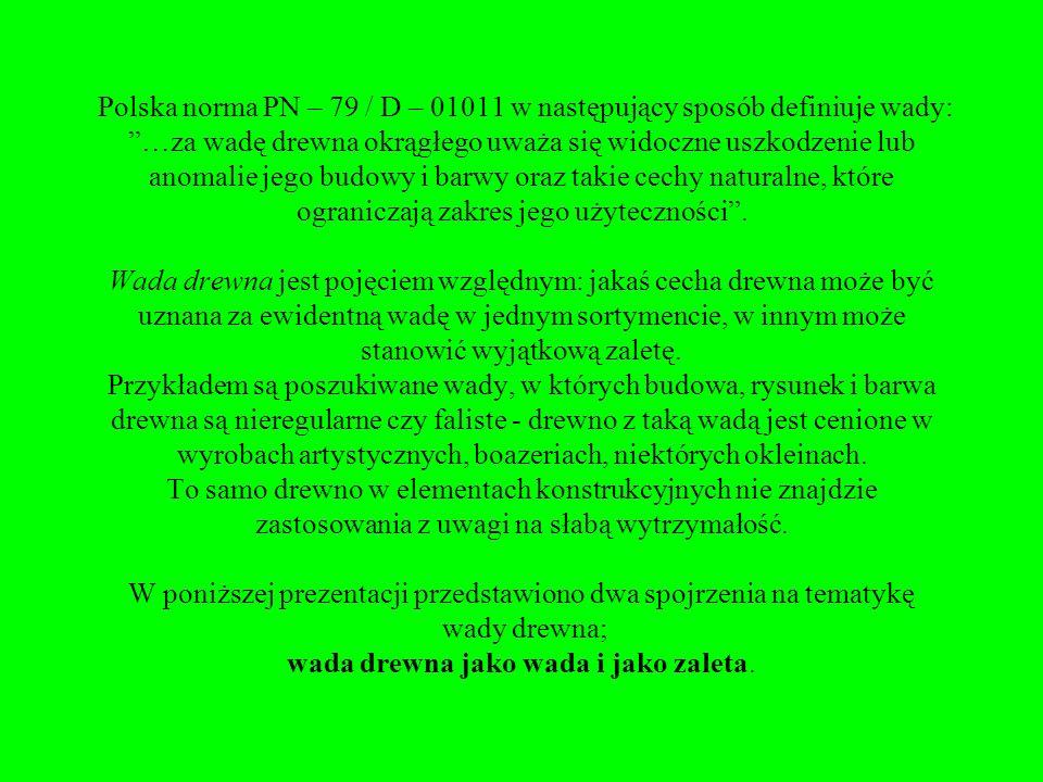 Polska norma PN – 79 / D – 01011 w następujący sposób definiuje wady: …za wadę drewna okrągłego uważa się widoczne uszkodzenie lub anomalie jego budowy i barwy oraz takie cechy naturalne, które ograniczają zakres jego użyteczności .