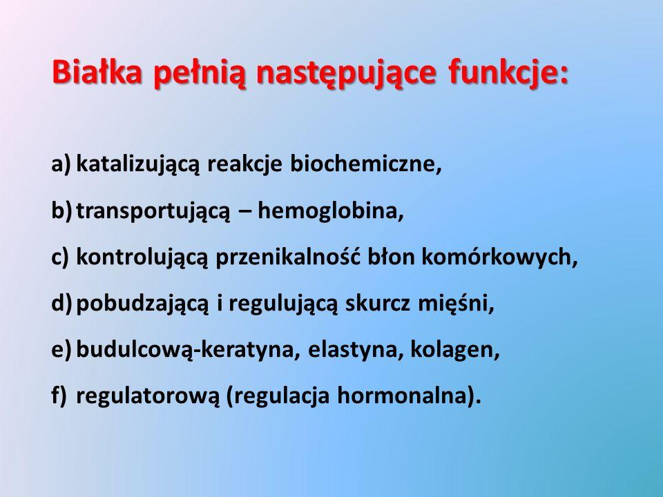 Białka pełnią następujące funkcje: