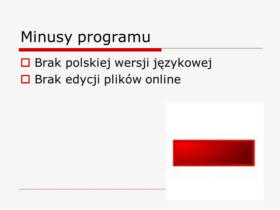 Minusy programu Brak polskiej wersji językowej