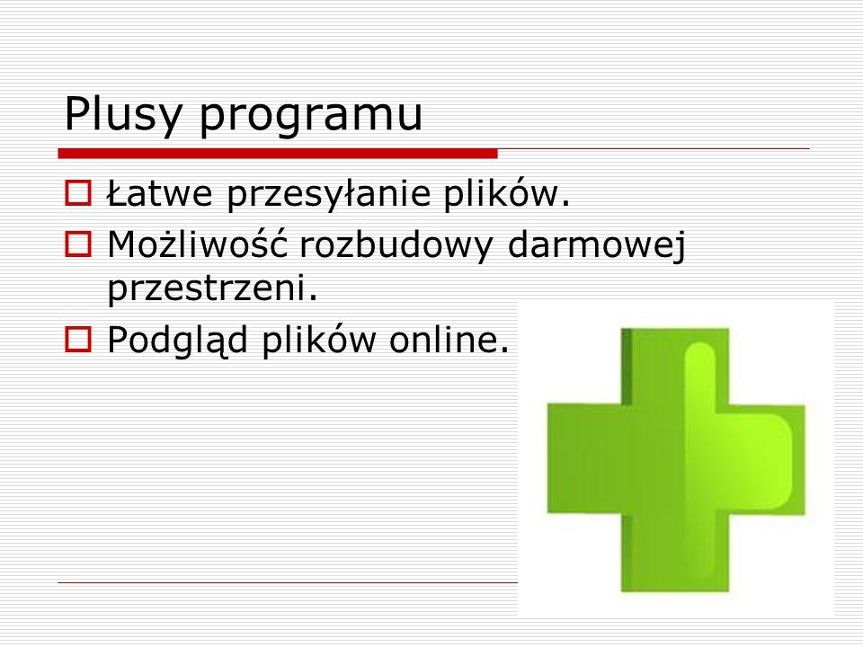 Plusy programu Łatwe przesyłanie plików.