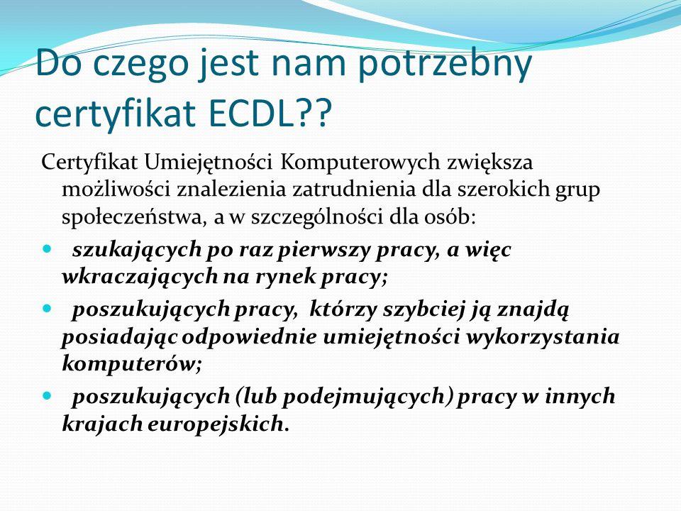 Do czego jest nam potrzebny certyfikat ECDL