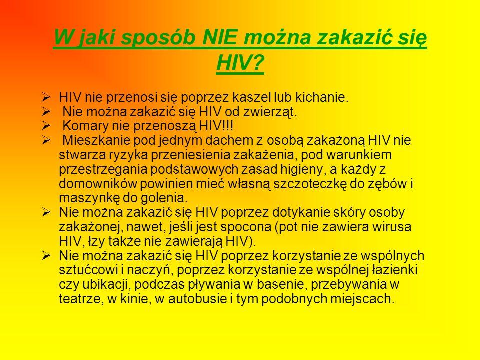 W jaki sposób NIE można zakazić się HIV