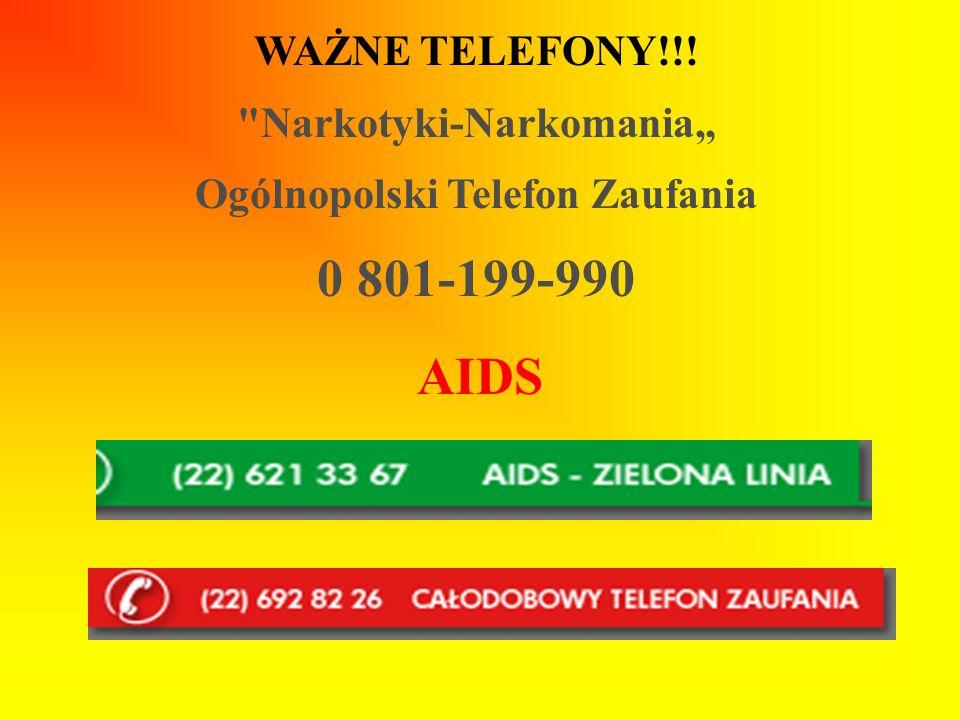 """Narkotyki-Narkomania"""" Ogólnopolski Telefon Zaufania"""