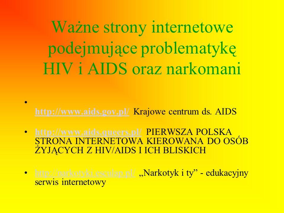 Ważne strony internetowe podejmujące problematykę HIV i AIDS oraz narkomani
