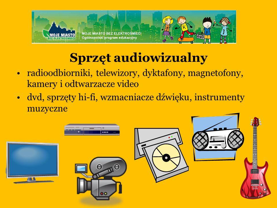 Sprzęt audiowizualny radioodbiorniki, telewizory, dyktafony, magnetofony, kamery i odtwarzacze video.