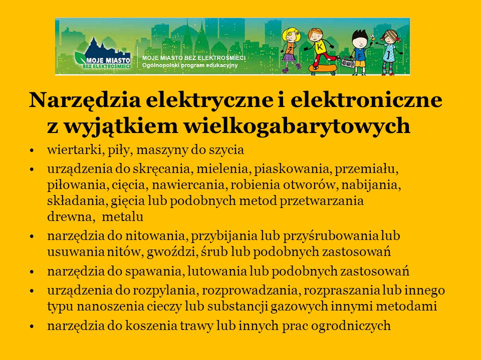 Narzędzia elektryczne i elektroniczne z wyjątkiem wielkogabarytowych
