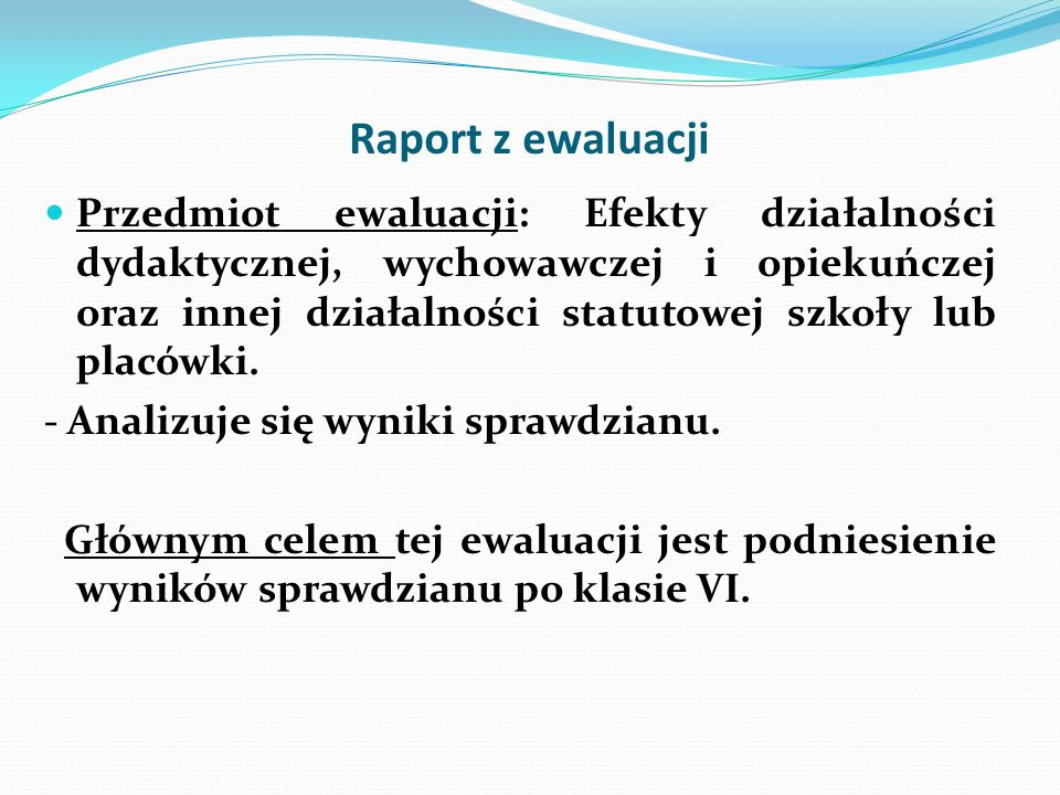 Raport z ewaluacji