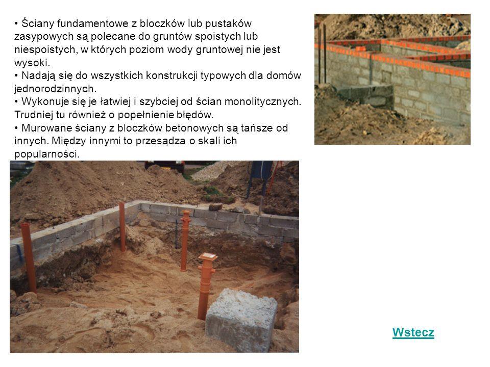 Ściany fundamentowe z bloczków lub pustaków zasypowych są polecane do gruntów spoistych lub niespoistych, w których poziom wody gruntowej nie jest wysoki.