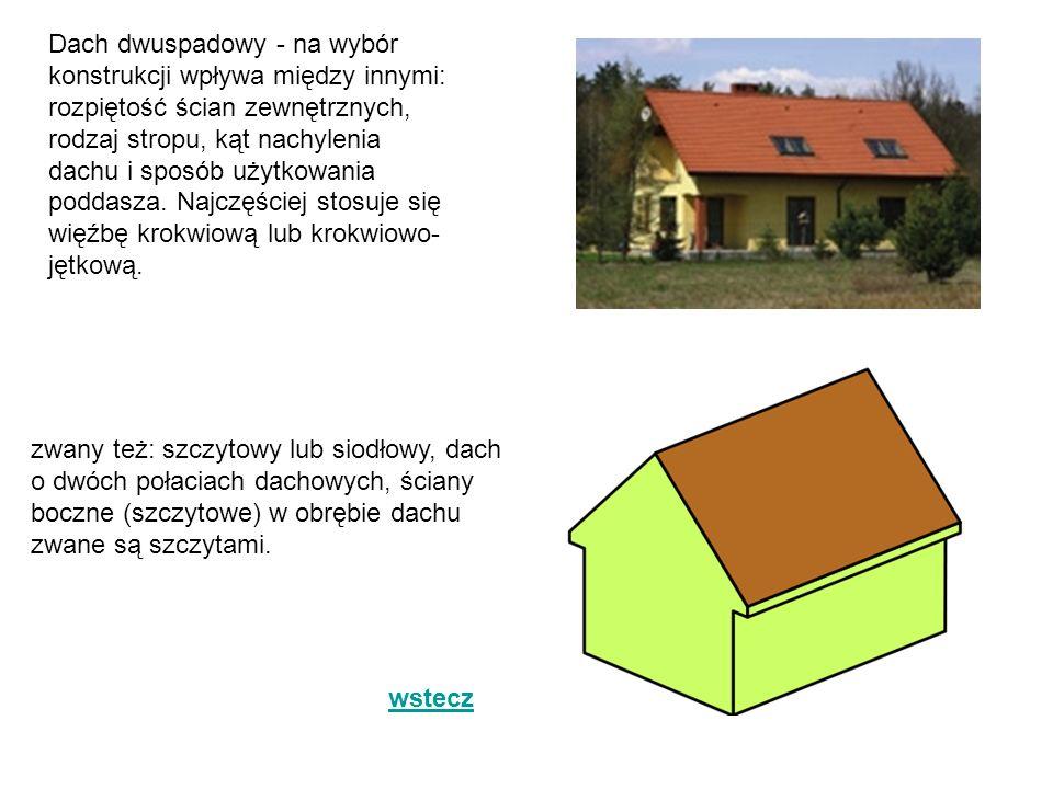 Dach dwuspadowy - na wybór konstrukcji wpływa między innymi: rozpiętość ścian zewnętrznych, rodzaj stropu, kąt nachylenia dachu i sposób użytkowania poddasza. Najczęściej stosuje się więźbę krokwiową lub krokwiowo-jętkową.