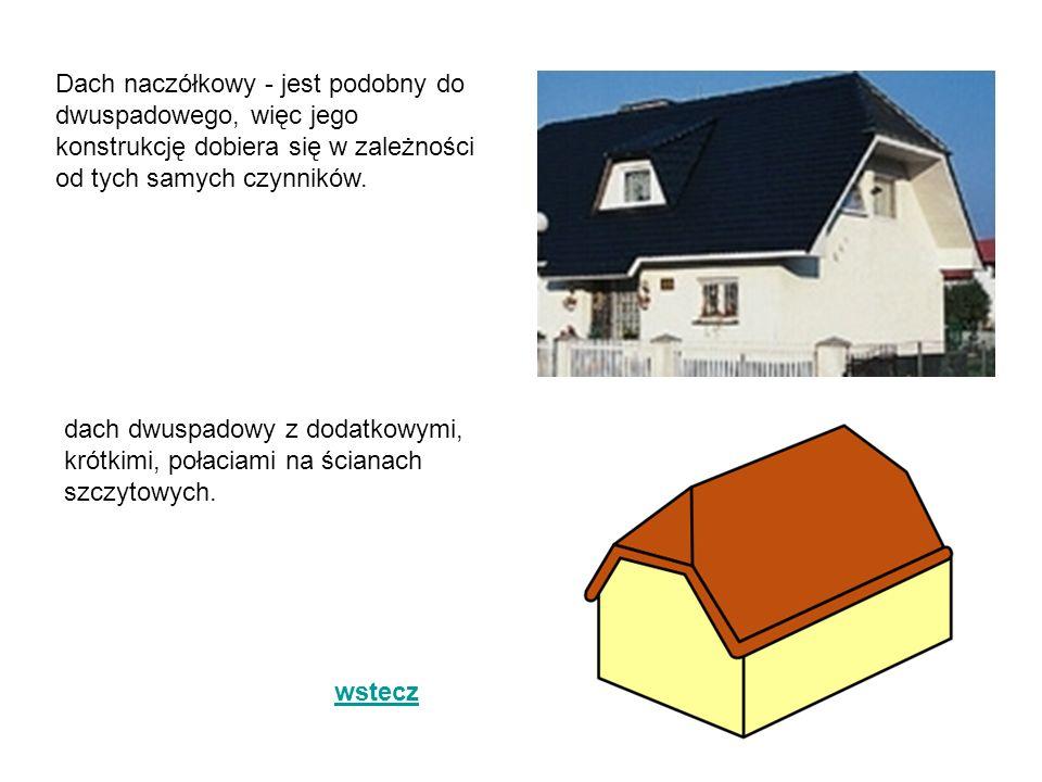 Dach naczółkowy - jest podobny do dwuspadowego, więc jego konstrukcję dobiera się w zależności od tych samych czynników.