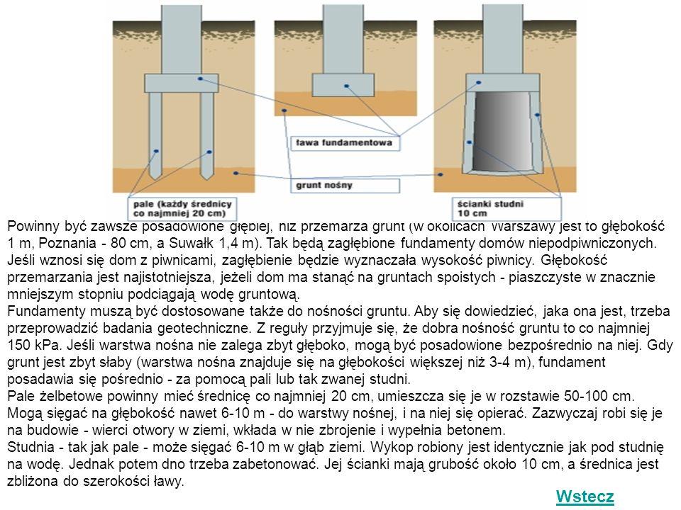Powinny być zawsze posadowione głębiej, niż przemarza grunt (w okolicach Warszawy jest to głębokość 1 m, Poznania - 80 cm, a Suwałk 1,4 m). Tak będą zagłębione fundamenty domów niepodpiwniczonych. Jeśli wznosi się dom z piwnicami, zagłębienie będzie wyznaczała wysokość piwnicy. Głębokość przemarzania jest najistotniejsza, jeżeli dom ma stanąć na gruntach spoistych - piaszczyste w znacznie mniejszym stopniu podciągają wodę gruntową. Fundamenty muszą być dostosowane także do nośności gruntu. Aby się dowiedzieć, jaka ona jest, trzeba przeprowadzić badania geotechniczne. Z reguły przyjmuje się, że dobra nośność gruntu to co najmniej 150 kPa. Jeśli warstwa nośna nie zalega zbyt głęboko, mogą być posadowione bezpośrednio na niej. Gdy grunt jest zbyt słaby (warstwa nośna znajduje się na głębokości większej niż 3-4 m), fundament posadawia się pośrednio - za pomocą pali lub tak zwanej studni. Pale żelbetowe powinny mieć średnicę co najmniej 20 cm, umieszcza się je w rozstawie 50-100 cm. Mogą sięgać na głębokość nawet 6-10 m - do warstwy nośnej, i na niej się opierać. Zazwyczaj robi się je na budowie - wierci otwory w ziemi, wkłada w nie zbrojenie i wypełnia betonem. Studnia - tak jak pale - może sięgać 6-10 m w głąb ziemi. Wykop robiony jest identycznie jak pod studnię na wodę. Jednak potem dno trzeba zabetonować. Jej ścianki mają grubość około 10 cm, a średnica jest zbliżona do szerokości ławy.