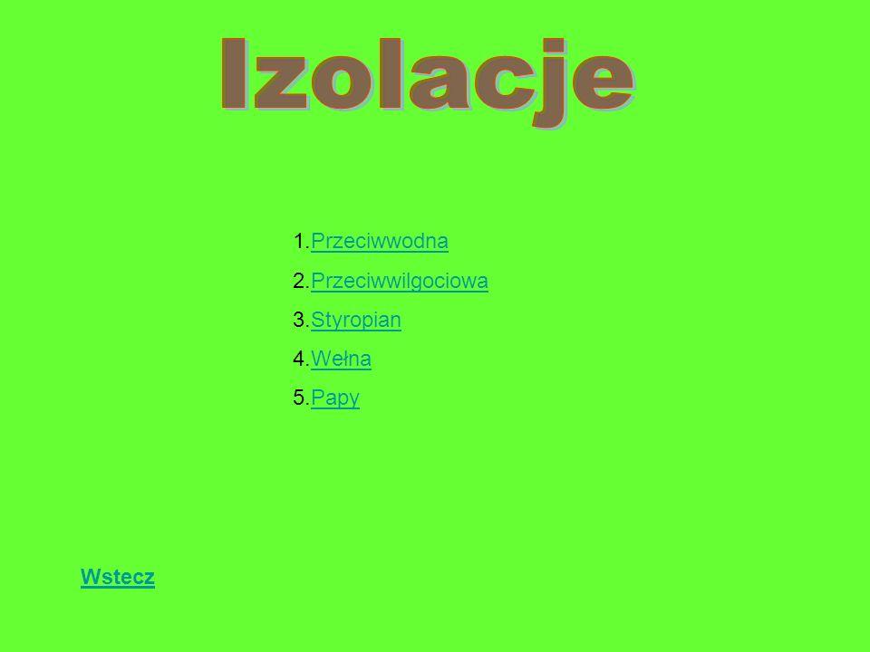 Izolacje 1.Przeciwwodna 2.Przeciwwilgociowa 3.Styropian 4.Wełna 5.Papy