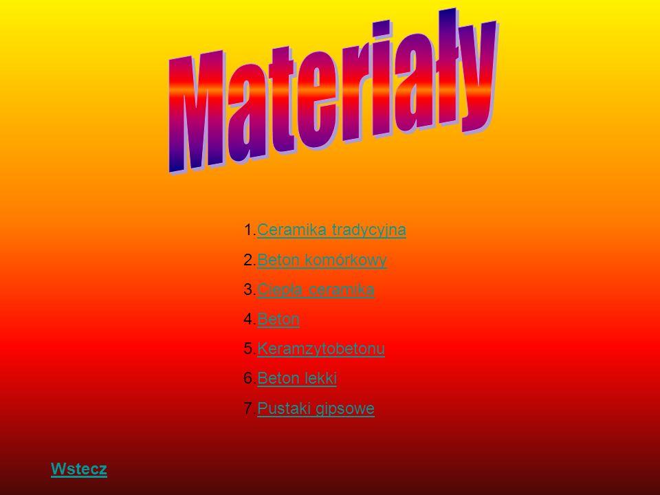 Materiały 1.Ceramika tradycyjna 2.Beton komórkowy 3.Ciepła ceramika