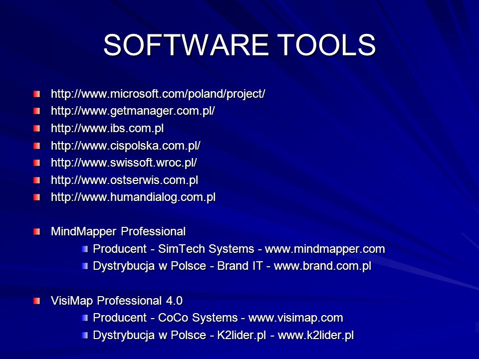 SOFTWARE TOOLS http://www.microsoft.com/poland/project/