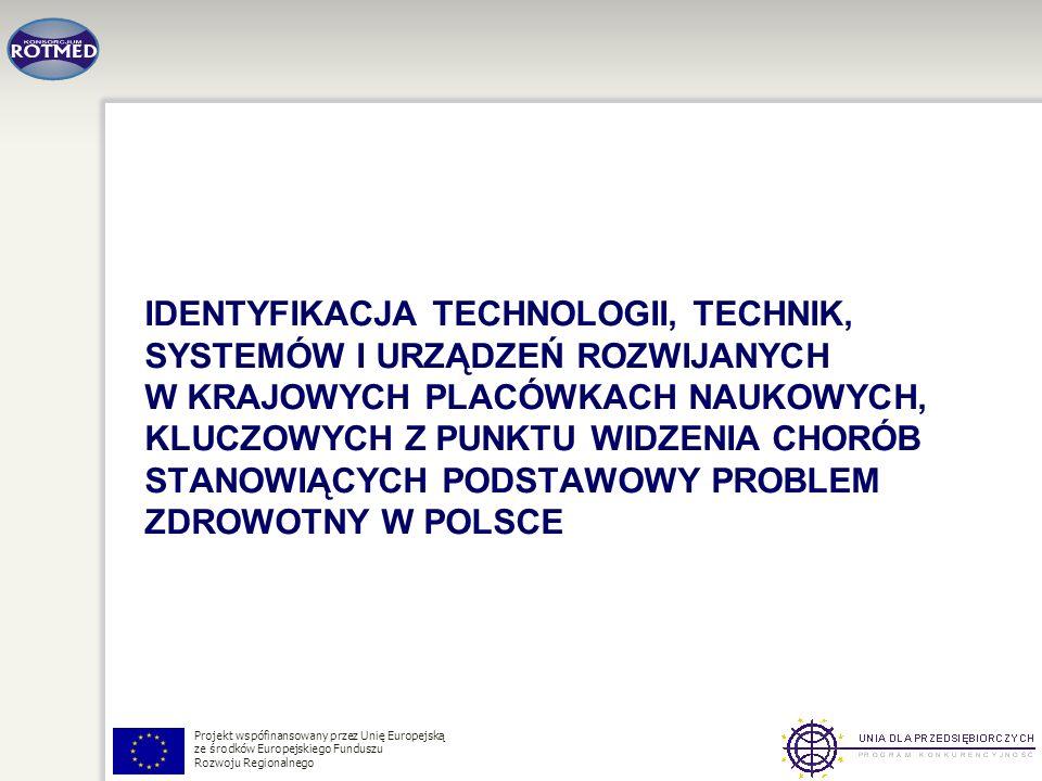 Identyfikacja Technologii, Technik, systemów i urządzeń rozwijanych w krajowych placówkach naukowych, kluczowych z punktu widzenia chorób stanowiących podstawowy problem zdrowotny w Polsce