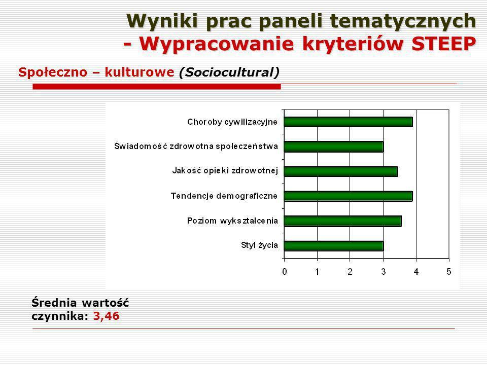 Wyniki prac paneli tematycznych - Wypracowanie kryteriów STEEP