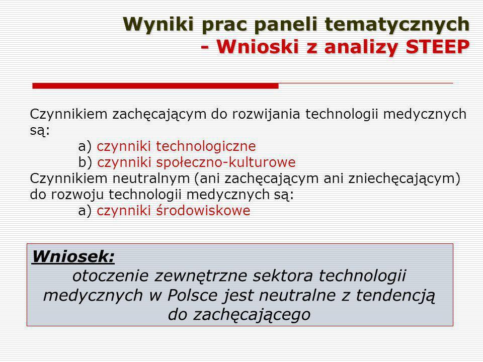 Wyniki prac paneli tematycznych - Wnioski z analizy STEEP