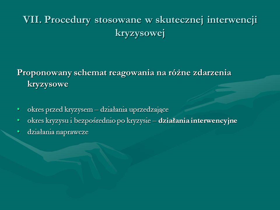 VII. Procedury stosowane w skutecznej interwencji kryzysowej