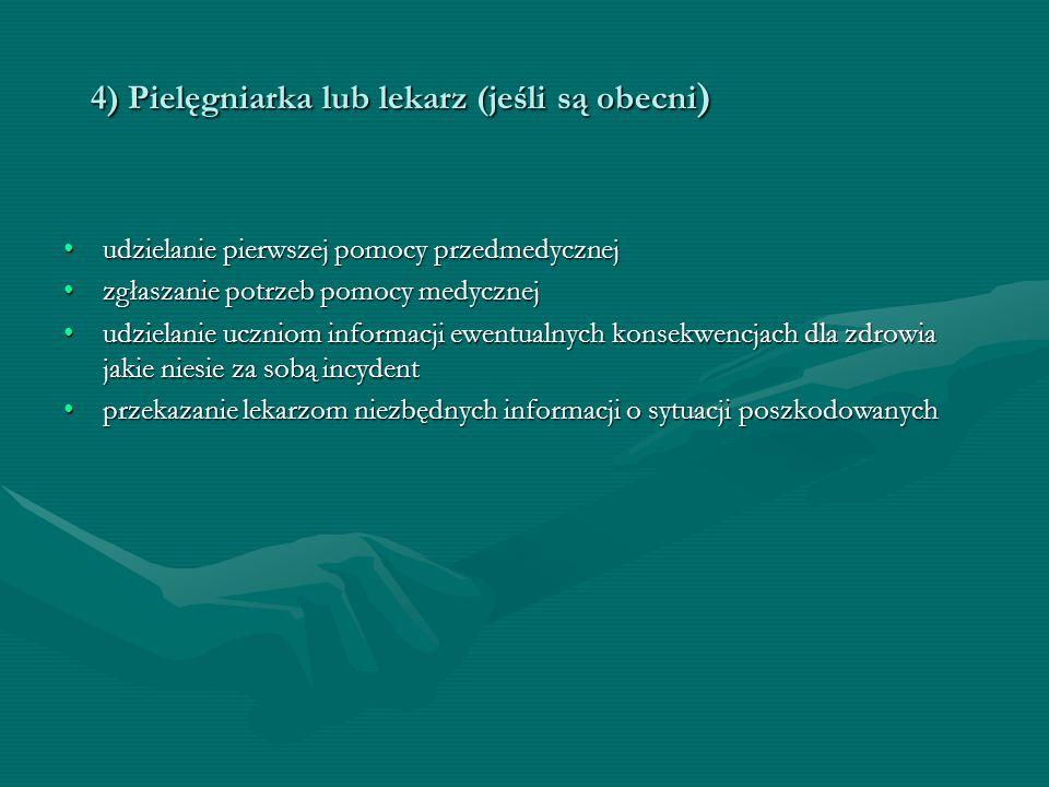 4) Pielęgniarka lub lekarz (jeśli są obecni)